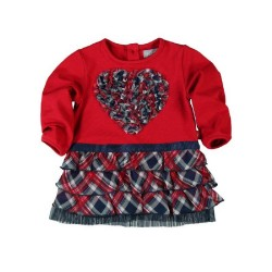 Boboli Red Heart tiered Dress