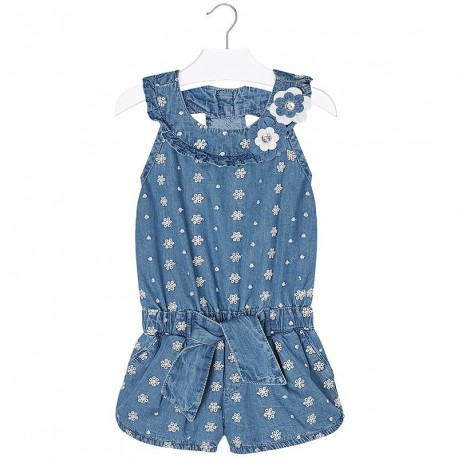 Mayoral Denim Eyelet Romper