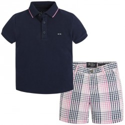 Mayoral Navy Plaid Shorts Set
