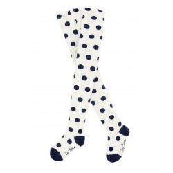 Le Top White Tights With Blue Polka Dots