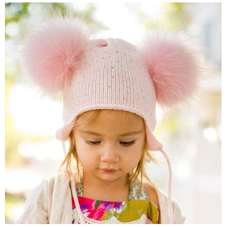 Double Pom Crystal Hats in Pink