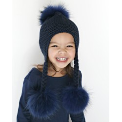 Melina's Bowtique Triple Pom Braids in Navy